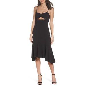 new NSR ♥︎ Ruffle Midi Open Cutout Dress ♥︎ Black
